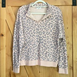 Cheetah half zip sweater